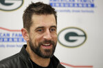 FILE - In this Oct. 27, 2019, file photo, Green Bay Packers quarterback Aaron Rodgers speaks during a news conference following an NFL football game between the Kansas City Chiefs and the Green Bay Packers in Kansas City, Mo. Green Bay quarterback and two-time MVP Aaron Rodgers will participate in a conference call, Friday, May 15, 2020, that gives him a chance to make his first public comments since the Packers drafted quarterback Jordan Love in the first round. (AP Photo/Charlie Riedel, File)