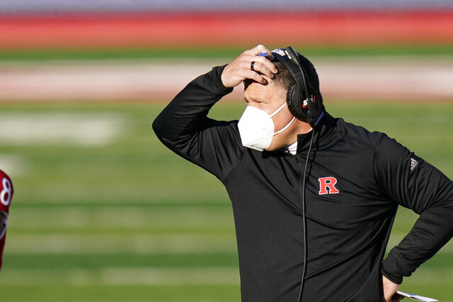 Rutgers head coach Greg Schiano looks on in the first quarter of an NCAA college football game against Indiana, Saturday, Oct. 31, 2020, in Piscataway, N.J. (AP Photo/Corey Sipkin)
