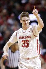 Wisconsin's Nate Veuvers celebrates a basket during the first half against Nebraska in an NCAA college basketball game in Lincoln, Neb., Tuesday, Jan. 29, 2019. (AP Photo/Nati Harnik)