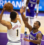 Denver Nuggets forward Michael Porter Jr. (1) shoots while defended by Sacramento Kings forward Harrison Barnes (40) during the first quarter of an NBA basketball game in Sacramento, Calif., Tuesday, Dec. 29, 2020. (AP Photo/Hector Amezcua)