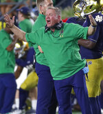 FILE - In this Sept. 1, 2018, file photo, Notre Dame head coach Brian Kelly argues a call in the second half of an NCAA football game against Michigan, in South Bend, Ind. Back in 2012, Kelly's Notre Dame team ran the table during the regular season to set up a showdown with Alabama for the national title. Along the way the Fighting Irish had to survive some close games, including overtime victories at home against Stanford and Pittsburgh (a triple OT affair). Now Kelly's Irish are 6-0 and ranked No. 5 and look who is waiting them this week -- the Panthers. (AP Photo/Paul Sancya, File)