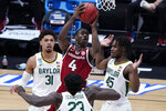 Arkansas guard Davonte Davis (4) drives on Baylor guard Davion Mitchell (45) and Jonathan Tchamwa Tchatchoua (23) as MaCio Teague (31) looks on during the second half of an Elite 8 game in the NCAA men's college basketball tournament at Lucas Oil Stadium, Monday, March 29, 2021, in Indianapolis. (AP Photo/Darron Cummings)