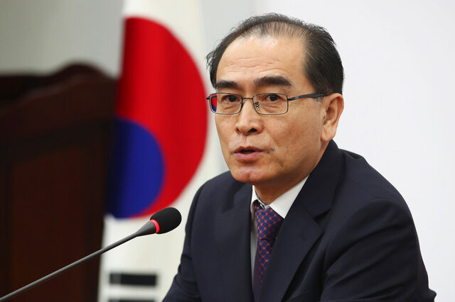 Thae Yong Ho, a former minister at the North Korean Embassy in London who came to Seoul with his family in 2016, speaks during a press conference at the National Assembly in Seoul, South Korea, Tuesday, Feb. 11, 2020. Thae said Tuesday he'll run in upcoming parliamentary elections in South Korea as part of his efforts to help South Koreans understand the true nature of North Korea and map out a better unification policy. (Kim In-chul/Yonhap via AP)