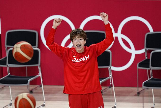 Japan's Saki Hayashi reacts during a women's basketball practice at the 2020 Summer Olympics, Saturday, July 24, 2021, in Saitama, Japan. (AP Photo/Eric Gay)