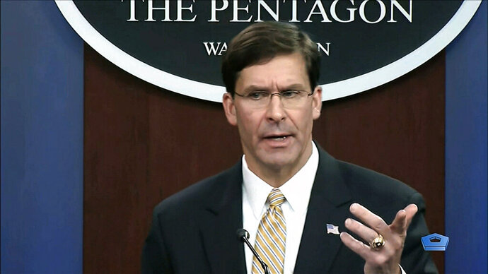 In this image from video, Secretary of Defense Mark Esper talks to the press on Iran and Iraq, Tuesday, Jan. 7, 2020, at the Pentagon in Washington. (divids via AP)