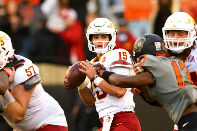 Iowa State quarterback Brock Purdy (15) looks for a receiver during an NCAA college football game Saturday, Oct. 24, 2020, in Stillwater, Okla. (AP Photo/Brody Schmidt)