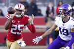 San Francisco 49ers cornerback Richard Sherman (25) intercepts a pass in front of Minnesota Vikings wide receiver Adam Thielen (19) during the second half of an NFL divisional playoff football game, Saturday, Jan. 11, 2020, in Santa Clara, Calif. (AP Photo/Tony Avelar)