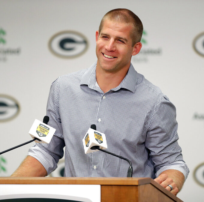 Jordy Nelson answers questions during a press conference at Lambeau Field in Green Bay, Wis., Tuesday, Aug. 6, 2019. Nelson signed a one-day contract with the Packers on Tuesday and announced his retirement after 11 seasons, 10 of which he spent in Green Bay. (Sarah Kloepping/The Post-Crescent via AP)