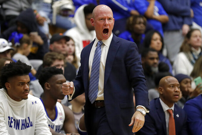 Seton Hall head coach Kevin Willard reacts during the second half of an NCAA college basketball game against Stony Brook on Saturday, Nov. 9, 2019, in South Orange, N.J. Seton Hall won 74-57. (AP Photo/Adam Hunger)