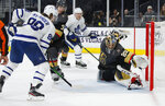Vegas Golden Knights goaltender Marc-Andre Fleury (29) blocks a shot by Toronto Maple Leafs center William Nylander (88) during the third period of an NHL hockey game Tuesday, Nov. 19, 2019, in Las Vegas. (AP Photo/John Locher)