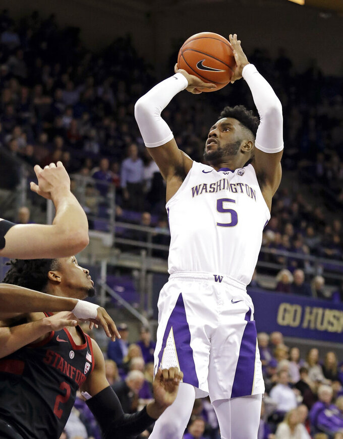 Washington's Jaylen Nowell (5) shoots during the first half of the team's NCAA college basketball game against Stanford on Thursday, Jan. 17, 2019, in Seattle. (AP Photo/Elaine Thompson)