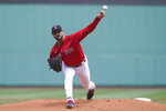 Boston Red Sox's Martin Perez delivers a pitch against the Toronto Blue Jays in the first inning of a baseball game, Sunday, June 13, 2021, in Boston. (AP Photo/Steven Senne)