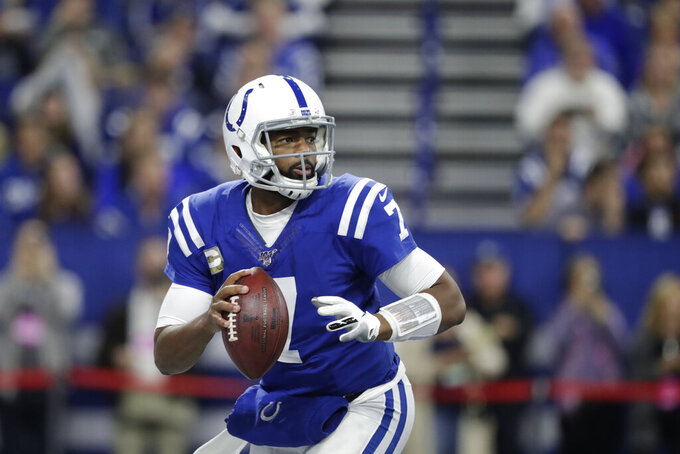Indianapolis Colts quarterback Jacoby Brissett (7)  prepares to throw during the first half of an NFL football game against the Jacksonville Jaguars, Sunday, Nov. 17, 2019, in Indianapolis. (AP Photo/Michael Conroy)