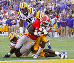 Georgia running back Elijah Holyfield (13) scores against LSU during the third quarter of an NCAA college football game Saturday, Oct. 13, 2018, in Baton Rouge, La. (Bob Andres/Atlanta Journal Constitution via AP)