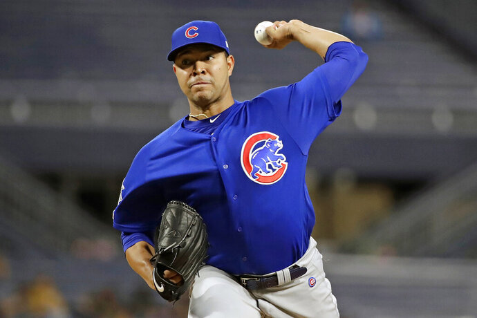 FILE - In this Thursday, Sept. 26, 2019, file photo, Chicago Cubs starting pitcher Jose Quintana delivers during the first inning of a baseball game against the Pittsburgh Pirates in Pittsburgh. Quintana is back in time to help the Cubs' playoff push. The NL Central-leading Cubs will activate the veteran left-handed pitcher and start him against the Pirates. Injuries have dogged Quintana for much of the season. (AP Photo/Gene J. Puskar, File)