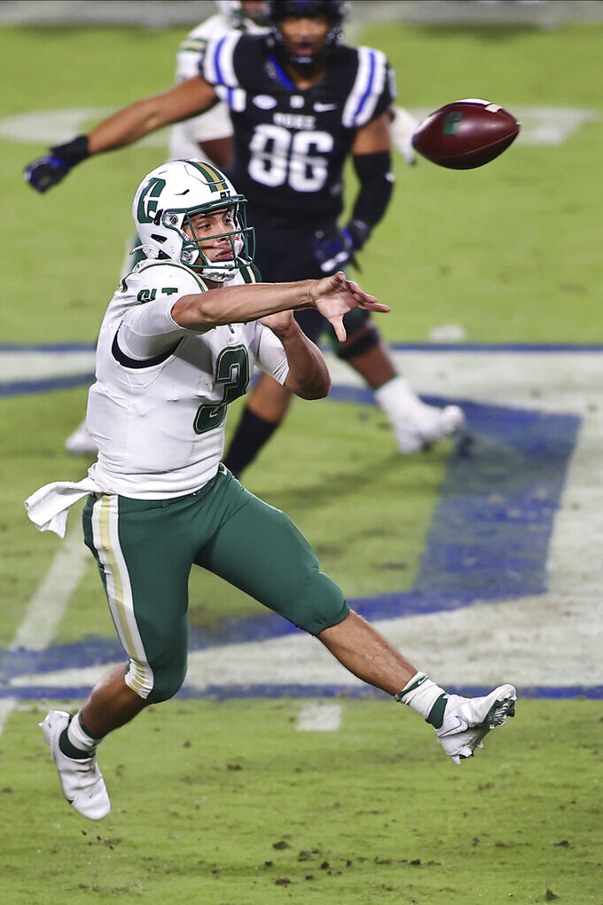 Charlotte quarterback Chris Reynolds (3) passes the football during the first half against Duke in an NCAA college football game Saturday, Oct. 31, 2020, in Durham, N.C. (Jaylynn Nash/Pool Photo via AP)