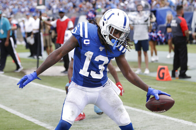 Indianapolis Colts wide receiver T.Y. Hilton celebrates after scoring a touchdown against the Tennessee Titans in the second half of an NFL football game Sunday, Sept. 15, 2019, in Nashville, Tenn. (AP Photo/James Kenney)