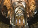 This Oct. 7, 2019 photo shows the interior of Barcelona Cathedral in the Gothic Quarter of Barcelona, Spain. If you're taking a solo trip for the first time, a European city like Barcelona is a good place to start. The city is dynamic, the streets and cafes are always packed, it's safe to walk around at night and people mostly speak English. (Courtney Bonnell via AP)