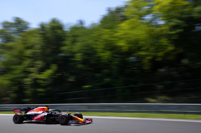 Red Bull driver Max Verstappen of the Netherlands steers his car during the first free practice at the Hungaroring racetrack in Mogyorod, Hungary, Friday, July 30, 2021. The Hungarian Formula One Grand Prix will be held on Sunday. (AP Photo/Darko Bandic)