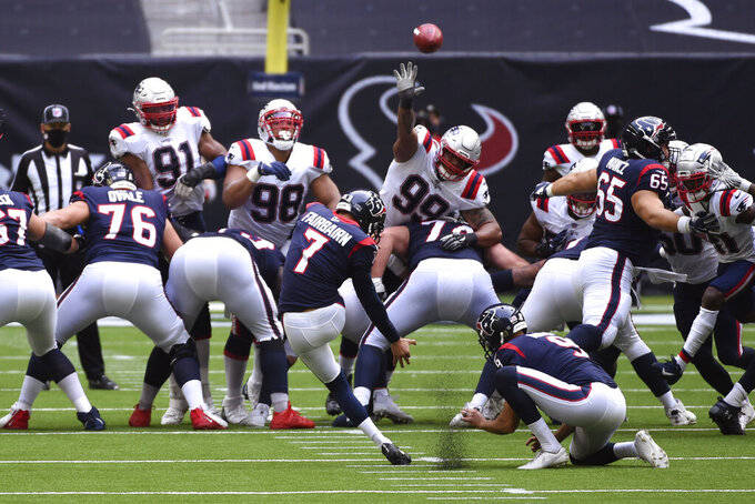 Houston Texans kicker Ka'imi Fairbairn (7) kicks a field goal against the New England Patriots during the second half of an NFL football game, Sunday, Nov. 22, 2020, in Houston. (AP Photo/Eric Christian Smith)
