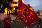 A supporter holds a flag bearing an image of Indonesian President Joko Widodo in Jakarta, Indonesia, Wednesday, April 17, 2019. Widodo is on track to win a second term, preliminary election results showed Wednesday, in apparent victory for moderation over the ultra-nationalistic rhetoric of his rival Prabowo Subianto. (AP Photo/Dita Alangkara)