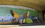 A homeless encampment is seen under the 101 freeway at Silver Lake Blvd. during the coronavirus outbreak, Thursday, May 21, 2020, in Los Angeles. (AP Photo/Mark J. Terrill)