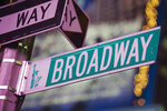 FILE - This Jan. 19, 2012 file photo shows a Broadway street in Times Square, in New York. Broadway producers have extended the suspension of all shows on the Great White Way, saying musical and plays will stay shuttered through June 7 in accordance with latest medial guidance. Broadway abruptly closed on March 12 and announced plans to reopen the week of April 13. But that timetable was increasingly looking too optimistic as the city saw an alarming surge in deaths. (AP Photo/Charles Sykes, file)