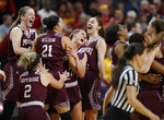 Missouri State players celebrate after defeating Iowa State 69-60 in a second-round game in the NCAA women's college basketball tournament Monday, March 25, 2019, in Ames, Iowa. (AP Photo/Matthew Putney)