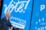 Democratic presidential candidate former Vice President Joe Biden appears on a