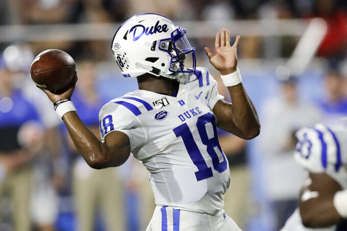 Duke quarterback Quentin Harris passes against Middle Tennessee in the first half of an NCAA college football game Saturday, Sept. 14, 2019, in Murfreesboro, Tenn.  (AP Photo/Mark Humphrey)