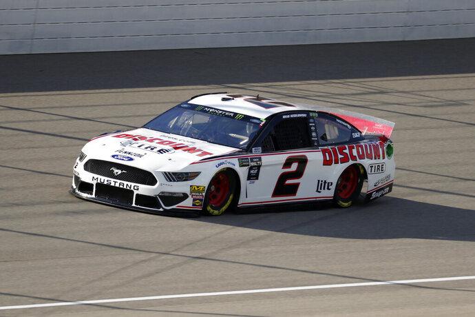 Brad Keselowski qualifies for a NASCAR Cup Series auto race at Michigan International Speedway in Brooklyn, Mich., Friday, Aug. 9, 2019. Keselowski won the pole position. (AP Photo/Paul Sancya)