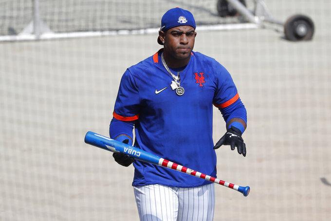 New York Mets left fielder Yoenis Cespedes participates in a baseball workout at Citi Field, Sunday, July 5, 2020, in New York. (AP Photo/Seth Wenig)