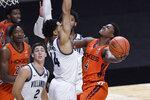 Virginia Tech's Nahiem Alleyne (4) shoots as Villanova's Caleb Daniels (14) defends during the second half of an NCAA college basketball game, Saturday, Nov. 28, 2020, in Uncasville, Conn. (AP Photo/Jessica Hill)