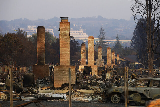 FILE - This Oct. 13, 2017 file photo shows a row of chimneys standing in a neighborhood devastated by the Tubbs fire near Santa Rosa, Calif. Pacific Gas & Electric will face another legal challenge to a $13.5 billion settlement with more than 80,000 Northern California victims worried they're being shortchanged in a deal that's supposed to repay them for losses caused by the utility's negligence. (AP Photo/Jae C. Hong, File)