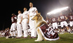 File-This photo taken Nov. 20, 2010, shows Texas A&M mascot Reveille VIII sitting on the field with yell leaders and the football team before an NCAA college football game in College Station, Texas.  A service has been scheduled Aug. 30 at Kyle Field to remember late Texas A&M collie mascot Reveille VIII. Organizers say Reveille VIII will be laid to rest 10 years to the day from her debut as mascot. The revered 12-year-old dog had been ill and died June 25. (AP Photo/David J. Phillip, File)