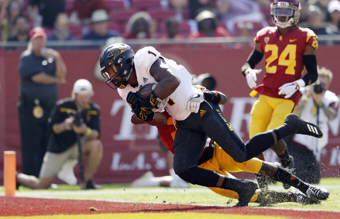 Arizona State 's N'Keal Harry (1) reaches the end zone on touchdown reception against Southern California during the first half of an NCAA college football game Saturday, Oct. 27, 2018, in Los Angeles. (AP Photo/Marcio Jose Sanchez)