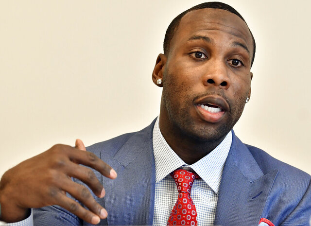 FILE - In this March 23, 2018, file photo, former NFL player Anquan Boldin, speaks during a session to discuss criminal justice issues with other current and former NFL football players at Harvard Law School, Friday, March 23, 2018, in Cambridge, Mass. The NFL has suddenly become a clarion in the quest for social justice, most strikingly tackling the issue of police brutality against African-Americans. (AP Photo/Josh Reynolds, File)