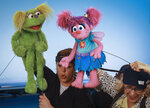 This Aug. 6, 2019 photo shows puppeteers Haley Jenkins, left, and Leslie Carrara-Rudolph performing with their