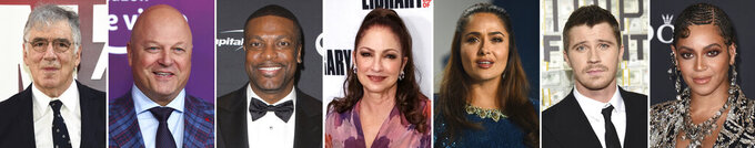 This combination photo of celebrities with birthdays from Aug. 29 - Sept. 4 shows Elliott Gould, from left, Michael Chiklis, Chris Tucker, Gloria Estefan, Salma Hayek, Garrett Hedlund and Beyonce. (AP Photo)