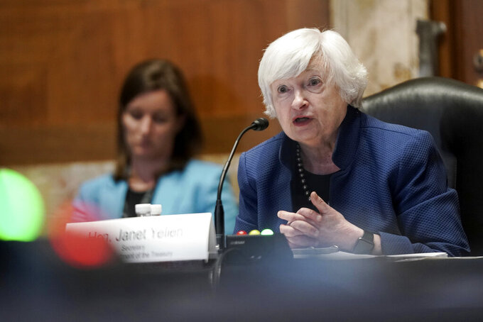 Treasury Secretary Janet Yellen speaks during a Senate Appropriations Subcommittee hearing to examine the FY 2022 budget request for the Treasury Department, Wednesday, June 23, 2021, on Capitol Hill in Washington. (Greg Nash/Pool via AP)
