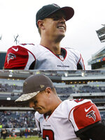 FILE - At top, in an Oct. 28, 2012, file photo, Atlanta Falcons quarterback Matt Ryan leaves the field after leading his team to a 30-17 victory over the Philadelphia Eagles in an NFL football game in Philadelphia. At bottom, in a Nov. 13, 2016, file photo, Atlanta Falcons' Matt Ryan leaves the field after a 24-15 loss to the Philadelphia Eagles in Philadelphia. A berth in the NFC championship game is at stake when Ryan leads the Atlanta Falcons (11-6) against the Philadelphia Eagles (13-3) in a divisional playoff Saturday, Jan. 13, 2018. (AP Photo/File)