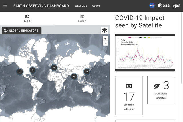 This image captured on Thursday, June 25, 2020 shows part of the website created by the space agencies of the U.S., Europe and Japan to show changes to Earth because of coronavirus lockdowns. Using data from 17 satellites, it that serves as a global dashboard for temporary changes observed from orbit. (NASA, ESA, JAXA via AP)