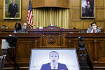 Facebook CEO Mark Zuckerberg speaks via video conference during a House Judiciary subcommittee hearing on antitrust on Capitol Hill on Wednesday, July 29, 2020, in Washington. (Graeme Jennings/Pool via AP)
