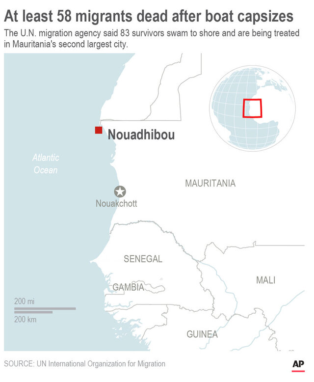 Map shows location of Mauritanian city where survivors of a capsized boat are being treated.; 2c x 4 inches; 96.3 mm x 101 mm;