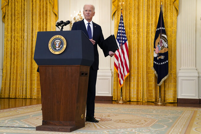 President Joe Biden answers a question from a reporter after speaking about the economy, in the East Room of the White House, Monday, May 10, 2021, in Washington. (AP Photo/Evan Vucci)