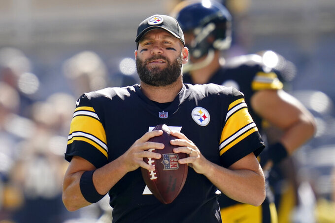 Pittsburgh Steelers quarterback Ben Roethlisberger warms up before an NFL football game against the Denver Broncos in Pittsburgh, Sunday, Oct. 10, 2021. (AP Photo/Keith Srakocic)