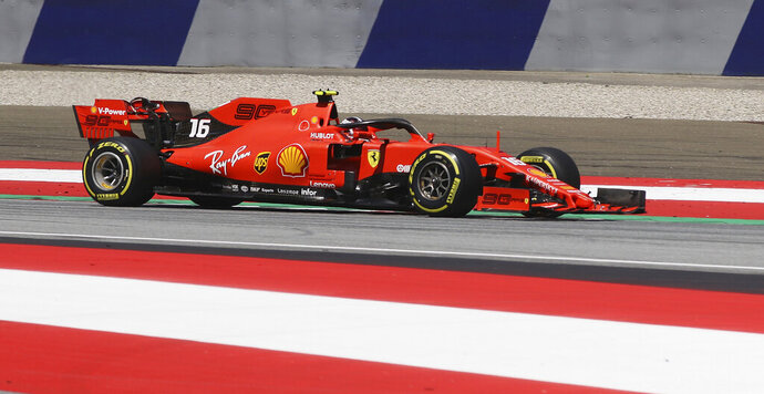 Ferrari driver Charles Leclerc of Monaco steers his car during the qualifying session for the Austrian Formula One Grand Prix at the Red Bull Ring racetrack in Spielberg, southern Austria, Saturday, June 29, 2019. The race will be held on Sunday. (AP Photo/Ronald Zak)