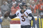 Denver Broncos quarterback Drew Lock (3) throws a pass during the first half of an NFL football game against the Kansas City Chiefs in Kansas City, Mo., Sunday, Dec. 15, 2019. (AP Photo/Ed Zurga)