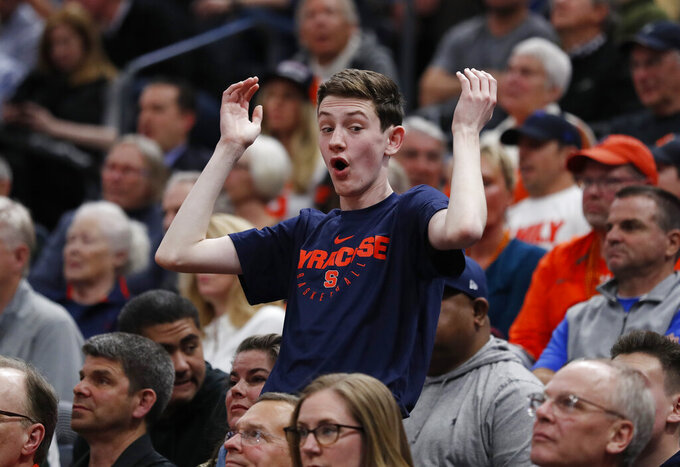 A Syracuse fans reacts to a call during the first half of the team's first-round game against Baylor in the NCAA men's college basketball tournament Thursday, March 21, 2019, in Salt Lake City. (AP Photo/Jeff Swinger)