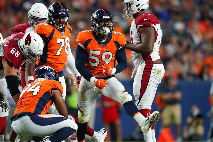 Denver Broncos linebacker Malik Reed (59) celebrates his sack against the Arizona Cardinals during the first half of an NFL preseason football game, Thursday, Aug. 29, 2019, in Denver. (AP Photo/Jack Dempsey)